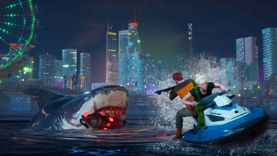 Un tiburón masticando un tanque de propano.
