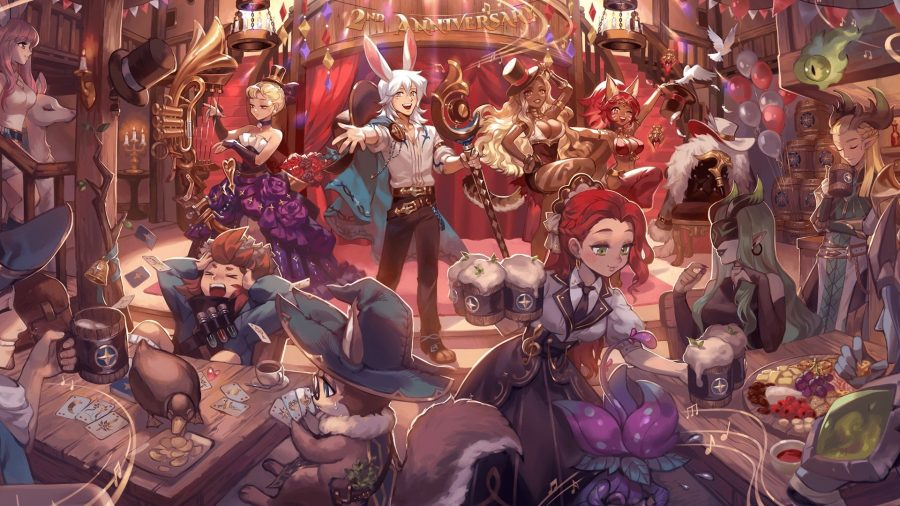 A group of AFK Arena characters in a pub