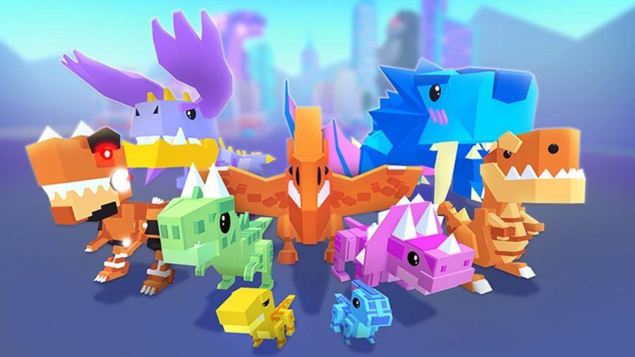 A group of brightly coloured dinosaurs