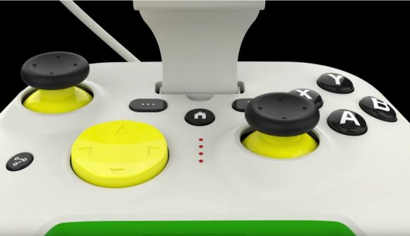 front view of the controller showing off the d-pad and face buttons