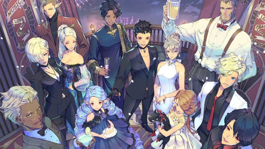 Group of Exos heroes at a party, all wearing formalwear and holding drinks