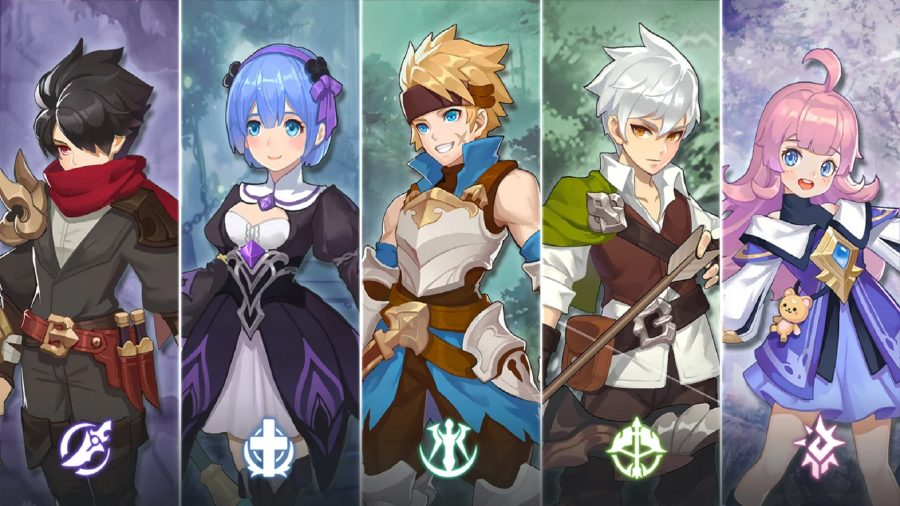 A group of Guardians of Cloudia characters