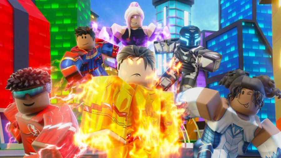 Group of Roblox Superheroes in the city