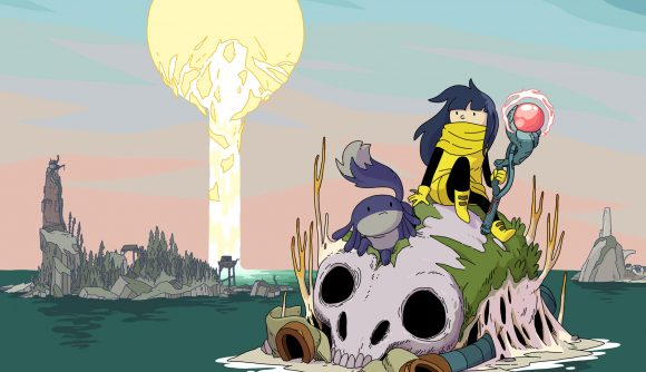 Mo from Minute of Islands with her pet, sat on a floating skull with a staff