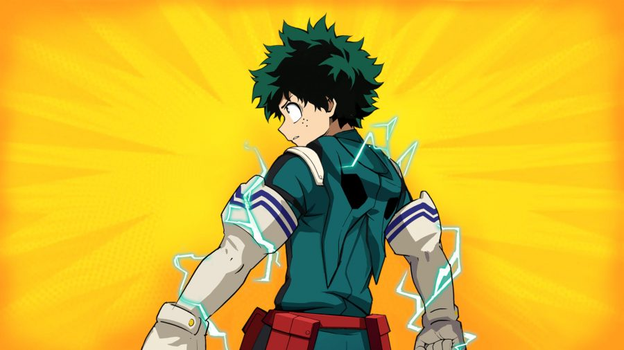 Hero Deku stands with his back to the screen against a bright orange and yellow background
