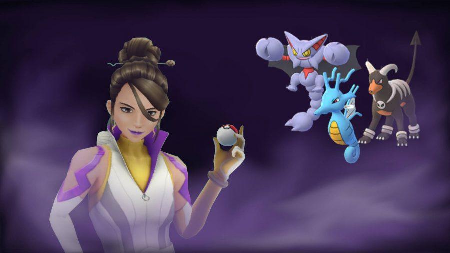 Pokemon trainer Sierra holding a pokeball with three pokemon behind her