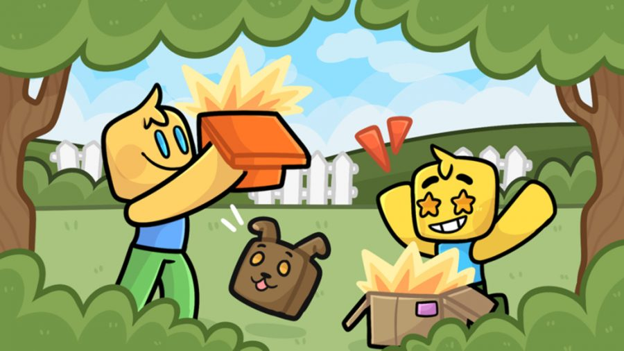 Two characters opening boxes in a forest clearing, a cube-shaped dog jumping between them