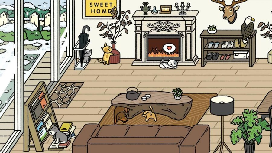 Adorable Home living room with a fireplace, wooden furniture, and several pets playing