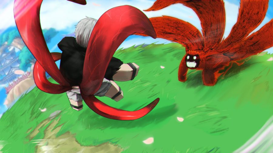 anime codes character fighting a red monster