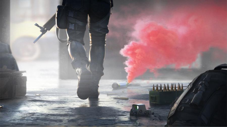 Soldier walking away into red smoke