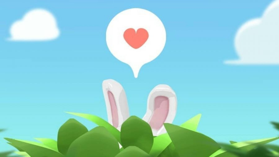 bunny ears sticking up over a bush. A speech bubble with a heart in it is above the bunny's head.