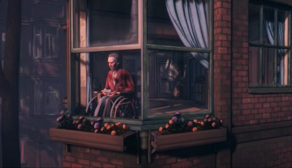 Conway, sat in his wheelchair looking out of his window