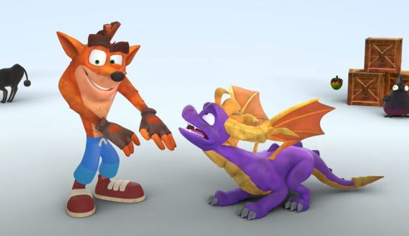 Crash and Spyro with boxes and a sheep behind them