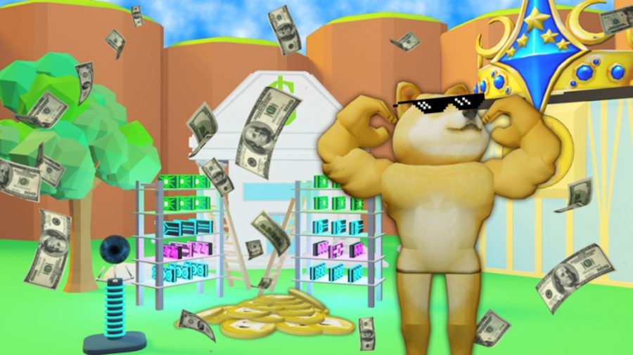 Doge chilling in Dogecoin Mining Tycoon