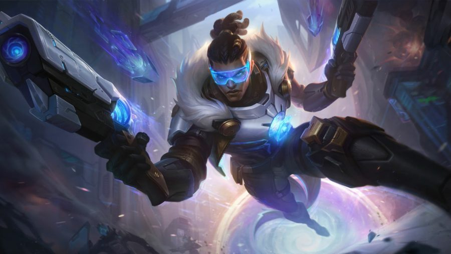 Lucian facing enemies with his pistol