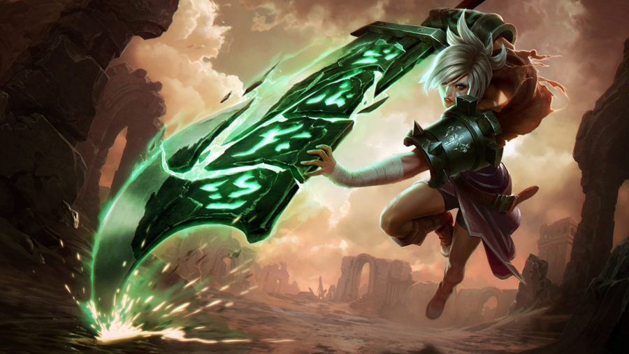 Riven attacking with her sword
