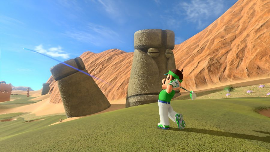 Luigi hitting a ball
