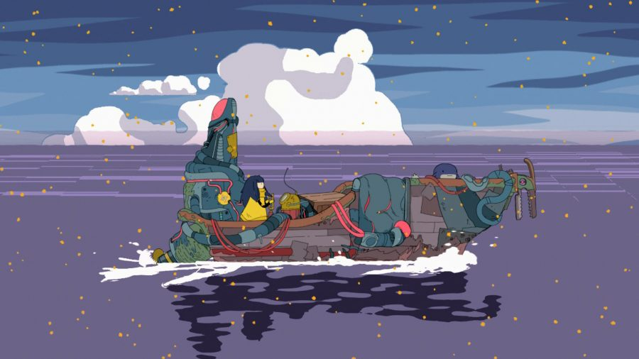 Mo riding her boat over a dark ocean, with Foxlotl at the helm