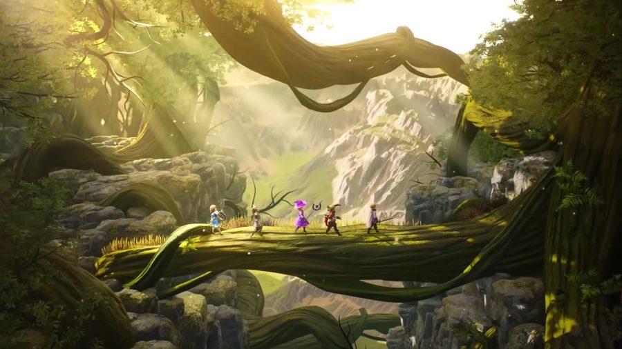 Heroes walking across a log