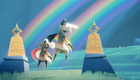 characters jumping in the air with two rainbows in the background