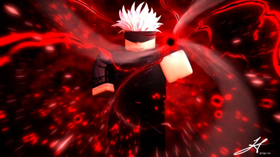 a white haired character wearing a scarf over his eyes and casting a red magic attack