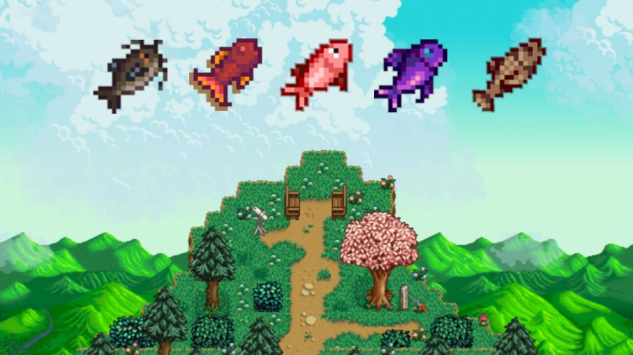 Stardew island scape with fish over the water