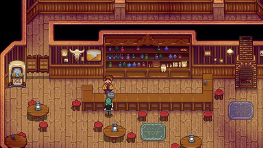Stardew Valley's Gus at his saloon
