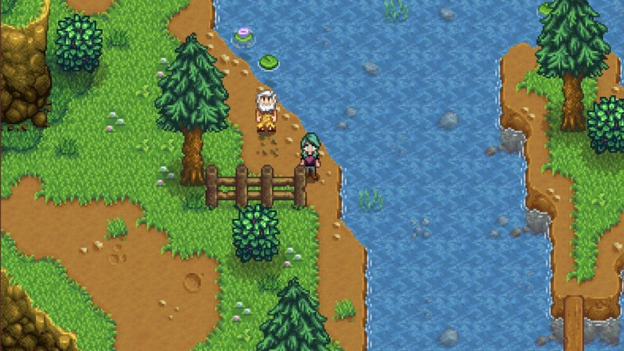 Stardew Valley's Linus standing on the shore