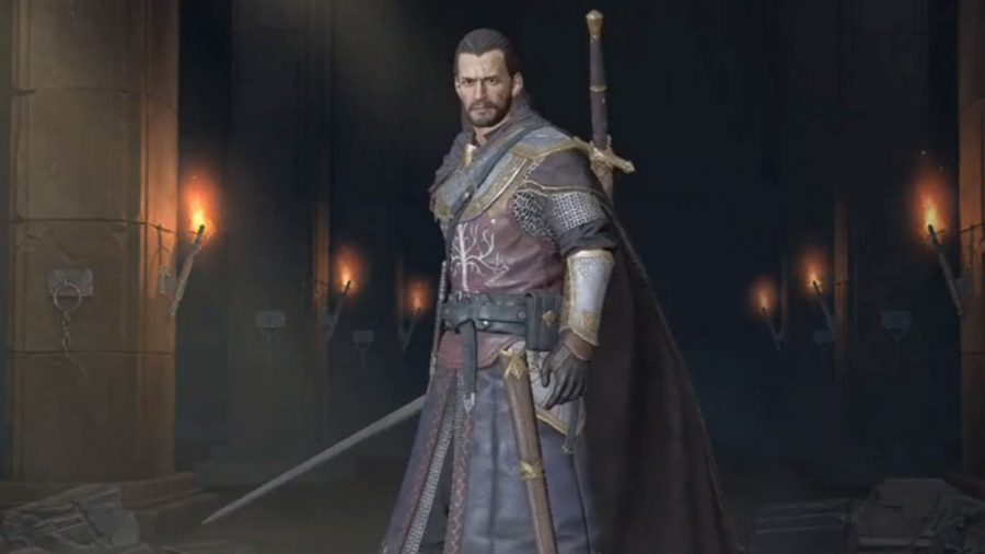 A ranger standing with his sword in hand