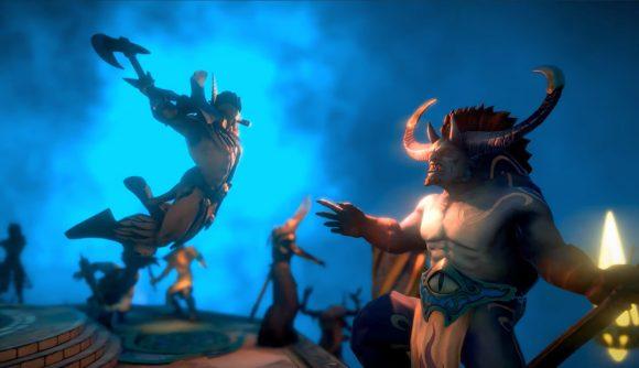 A battle between a warrior and a monster