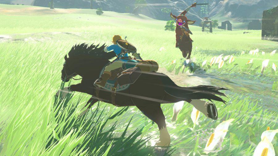 Link atop a horse