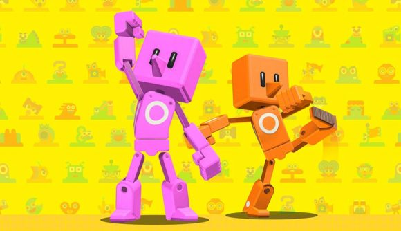 Two characters from Game Builder garage rejoice with hands in the air