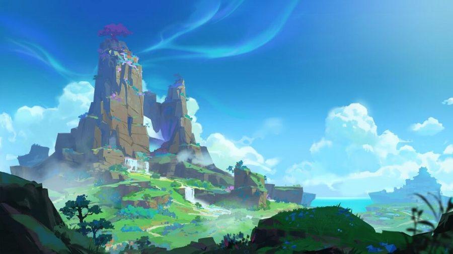 An island with a tall mountain