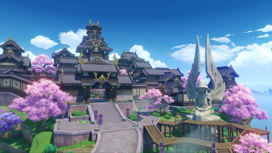 A shrine in Genshin Impact's Inazuma region