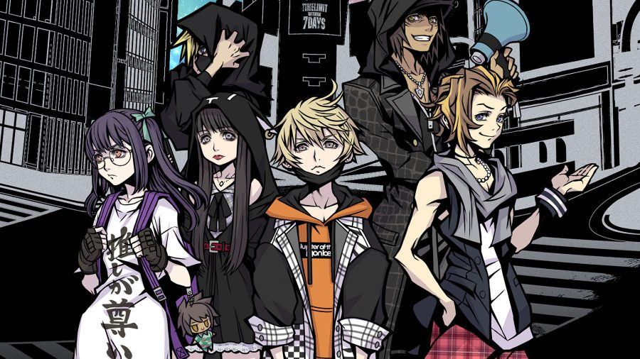 A group of school children (the cast of Neo: The World Ends With You) in a stylised cartoon Shibuya face forward