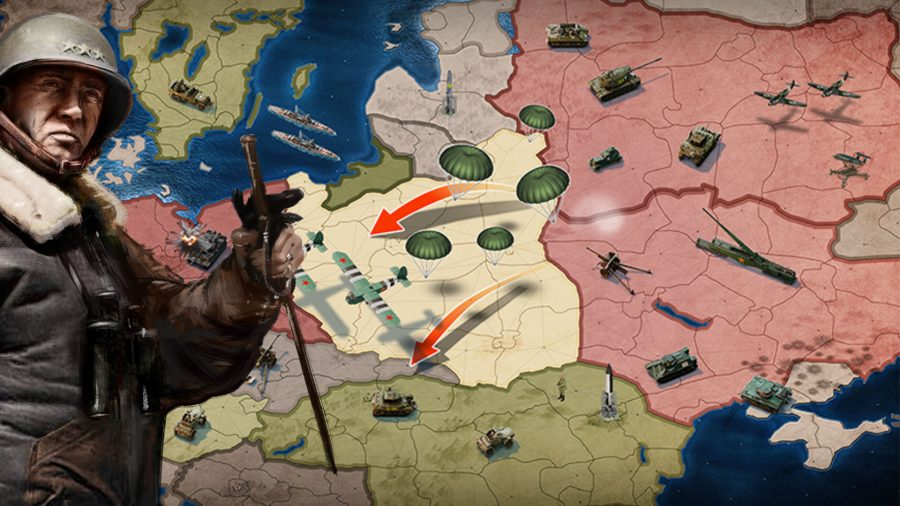 A soldier standing in front of a map in Call of War