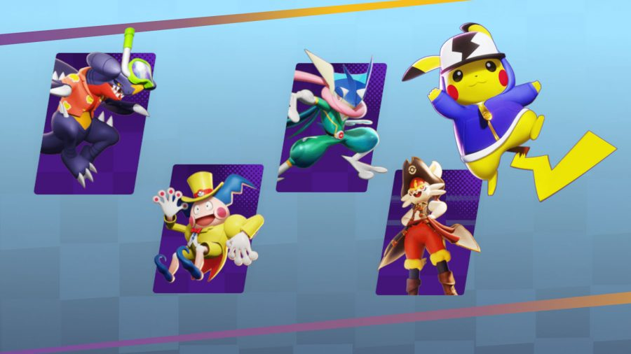 A selection of Pokemon Unite characters in their new skins