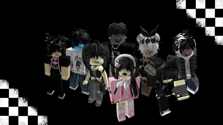 A group of Roblox emos on a black and white checked background