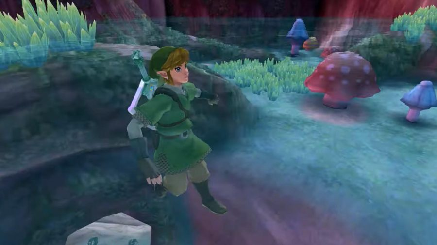 Link swimming in a pool of water in a cave surrounded in mushrooms