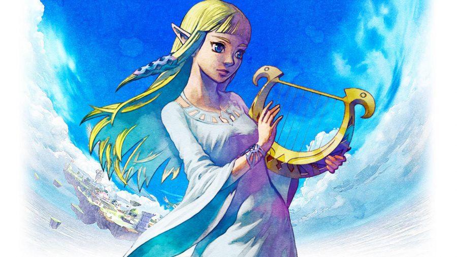 Zelda with a harp