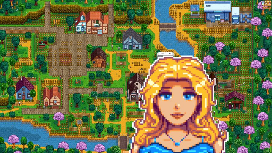 Stardew Valley's Pelican Town map, with a picture of NPC Haley at the front