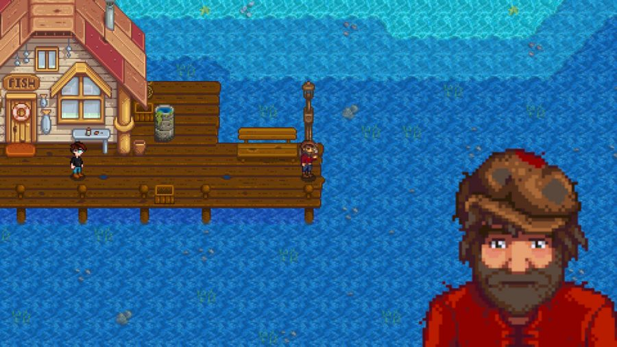 A shot of Stardew Valley Willy in front of the dock and his shop