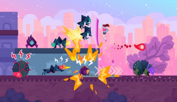 the female protagonist uppercuts several robot foes into the air