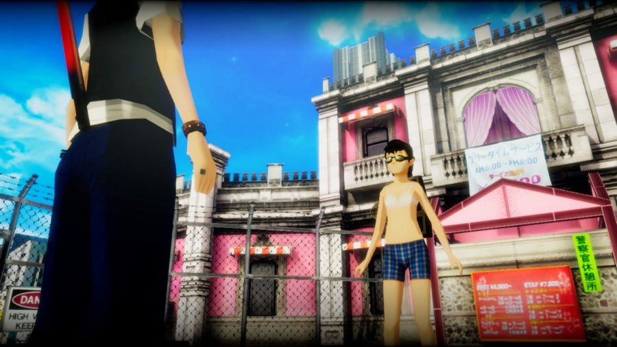 Akiba's trip protagonist facing off against a mostly stripped enemy
