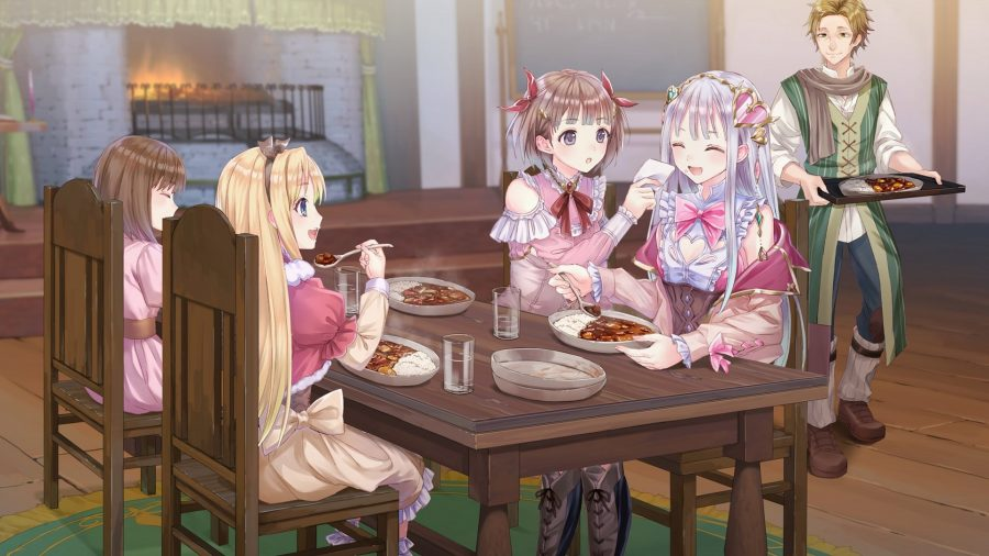 A group of characters eating dinner