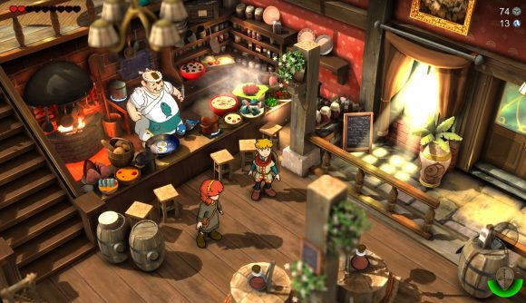 The protagonist Baldo and a friend stand in a bar, a man behind a counter is serving food and drink next to a stove.