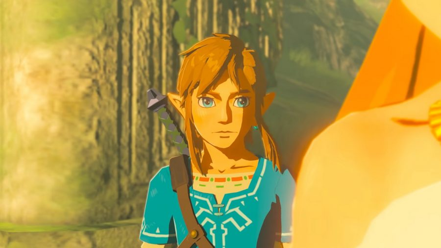 Breath of the Wild's 's Link with the light hitting his face