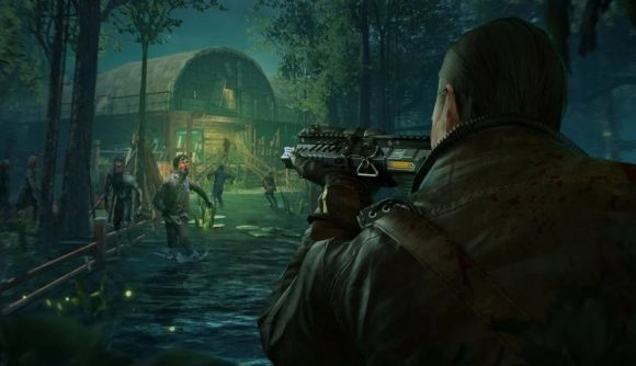 A soldier shooting zombies outside of a base