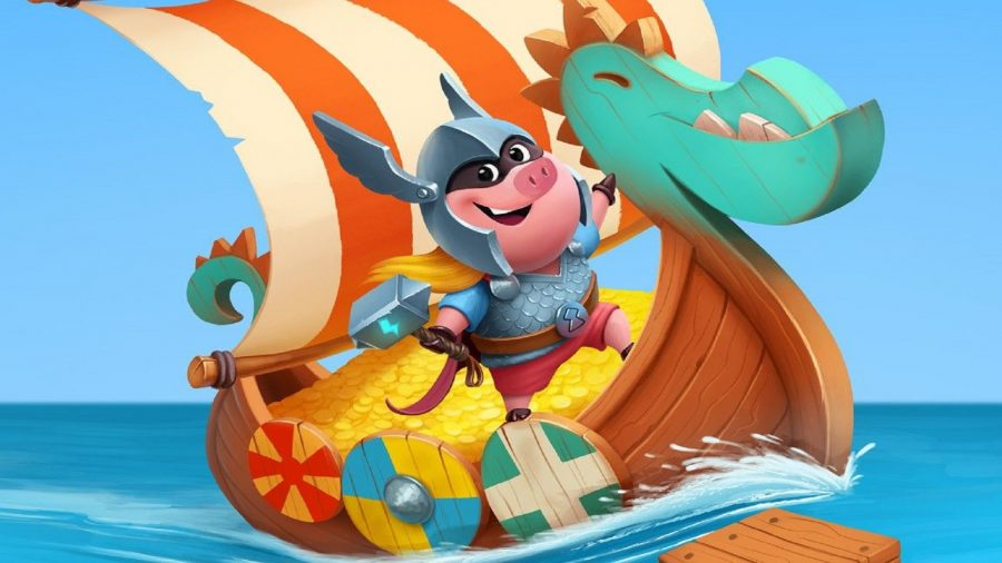 A Viking pig aboard a boat
