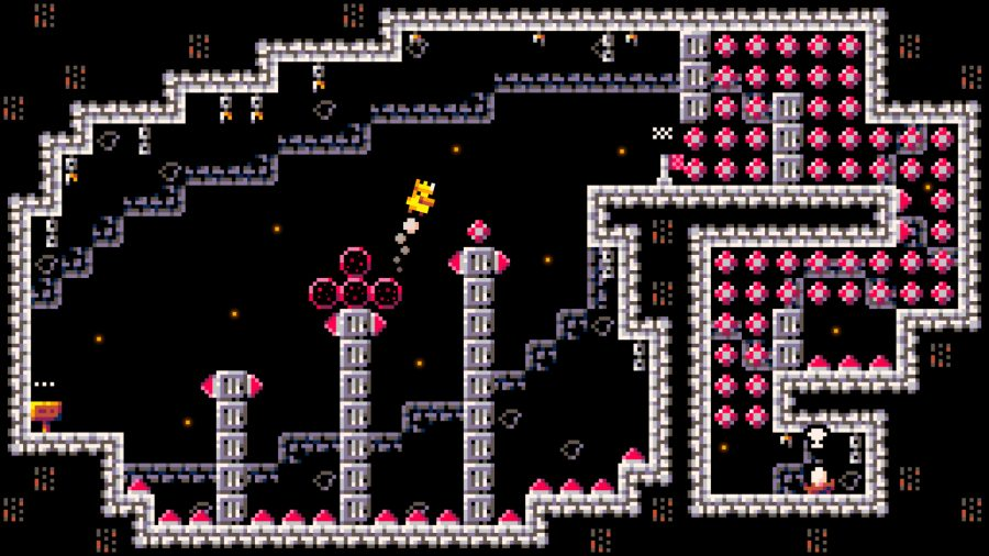 a duck jumpin over spikes in a castle-based setting